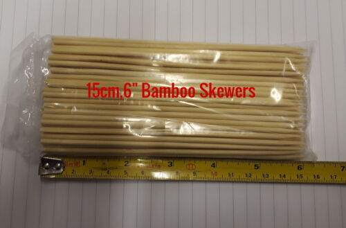 "200 x 6/"" Bamboo Skewers BBQ KEBAB BUFFET XMAS Catering Grade Food Safe"