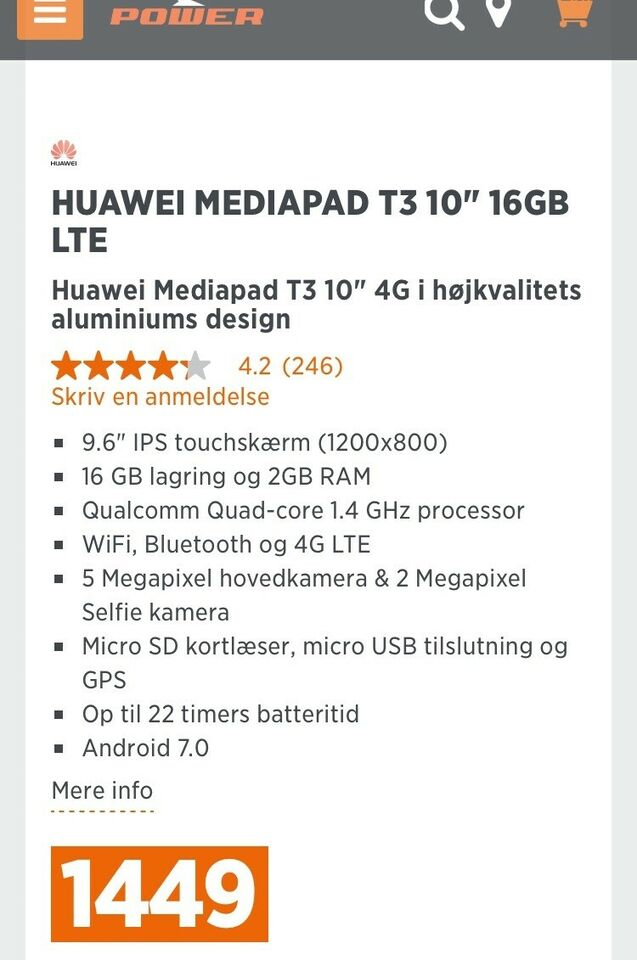Huawei, T3 10, 9,6 tommer