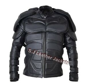 Men-039-s-Motorcycle-Batman-Padded-Real-Leather-Jacket-CE-Armor-Protection