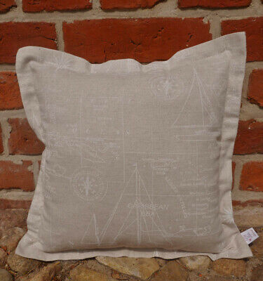 Maritimes Kissen beige mit weißem Muster 4 Größen Kissenhülle Kissenbezug | eBay