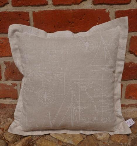 Kissenhülle Maritimes Kissen beige mit weißem Muster Kissenbezug 4 Größen