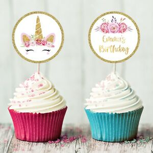 image relating to Printable Cupcakes Toppers named Information and facts pertaining to UNICORN CUPCAKE TOPPERS Ladies BIRTHDAY Celebration GLITTER Individualized CAKE PRINTABLE