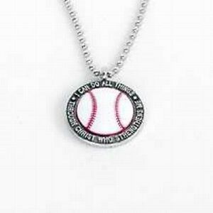 baseball necklace with quoti can do all things through christ