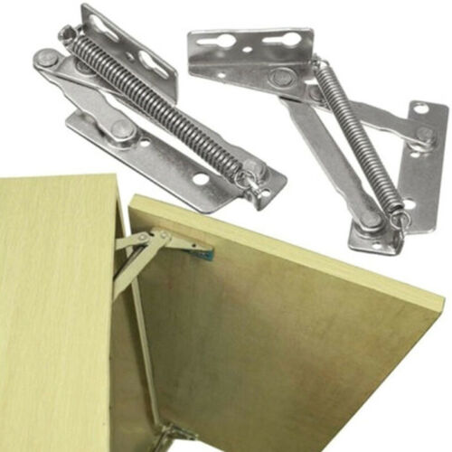2pcs 80 Degree Sprung Hinges Cabinet Door Kitchen Cupboard Stay Lift Up Top Flap