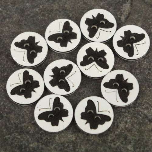 10 x Butterfly Black Buttons 12.5mm baby//Kids Craft Cards Knitting//Sewing B112