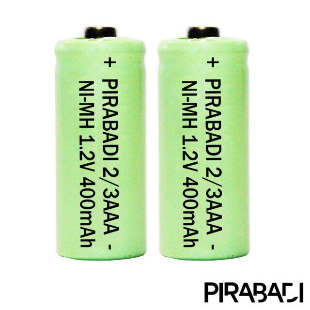 2 Pila Batería 2/3AAA Recargable 400mAh 1.2V Nimh NI-MH Pirabadi