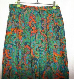 GREEN-ORANGE-FLORAL-100-WOOL-VINTAGE-PLEATED-FLORAL-SKIRT-UK-14-COUNTRY-CASUA