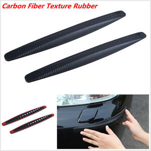 2xBlack-Carbon-Fiber-Texture-Anti-rub-Protector-Car-SUV-Bumper-Edge-Guard-Strips