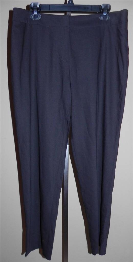 Eileen Fisher Peat Brown Wool Stretch Challis Lightweight Straight Pants L