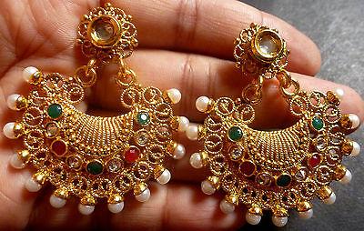 South Indian Antique Gold Plated CZ Kundan Polki Wedding Earrings Jhumka Set c.