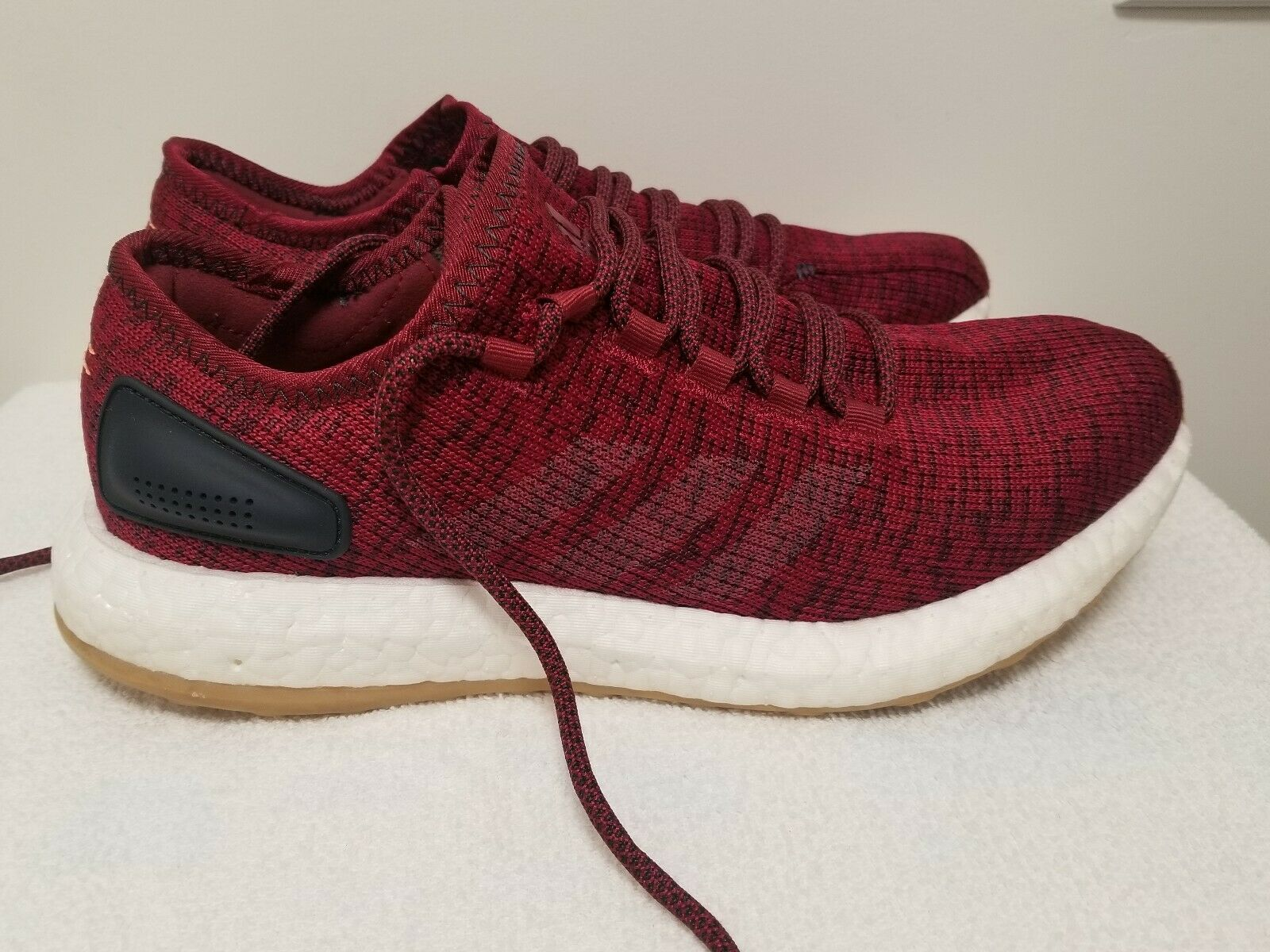 ADIDAS PURE BOOST BA8895 SHOES MEN SIZE 8.5  BURGANDY MAROON .