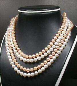 Silver-925-White-Pink-NATURAL-FRESH-WATER-PEARL-PEARLS-NECKLACE-16-18-inches-ES