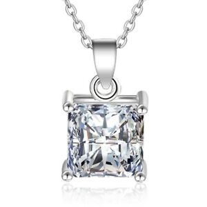 925-Sterling-Silver-Square-CZ-Pendant-Necklace-For-Women-Fashion-Jewelry