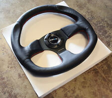 SALE NRG 320mm RACING / SPORT STEERING WHEEL BLACK LEATHER RED STICH FLAT BOTTOM