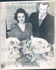 1948 Mrs Harry Walker & Her Second Set of Triplets Syracuse NY Press Photo