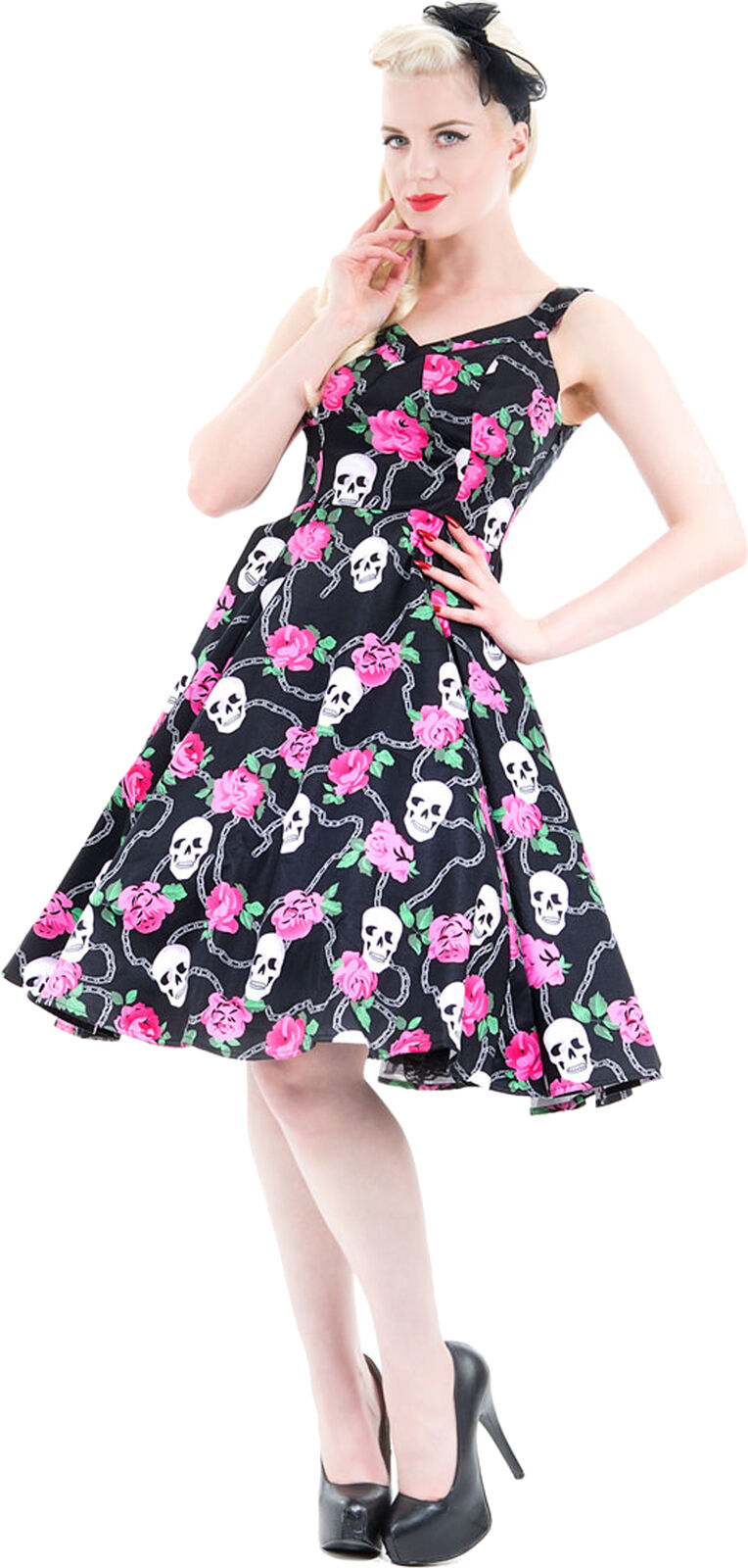 Hearts & Rosas SKULLY Skulls with RosaS V-Neck 50s SWING Kleid Rockabilly
