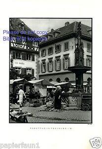 Markttag in Freiburg Breisgau XL Fotoabbildung von 1930 Brunnen Marktfrau