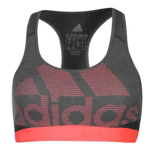 Womens adidas Large Logo Sports Bra Low Impact Breathable New