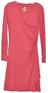 Kuhl-Womens-Red-Ruched-Faux-Wrap-Soft-Organic-Cotton-Dress-Size-S-EUC