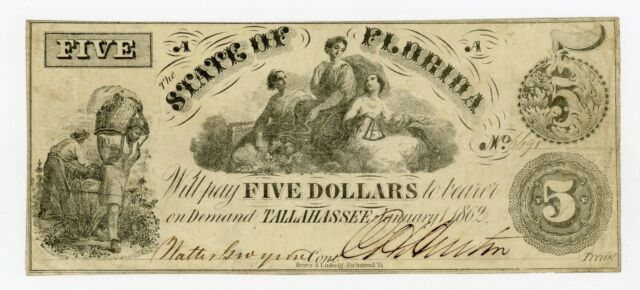 1862 Cr.14 $5 The State of FLORIDA Note - CIVIL WAR Era w/ SLAVES