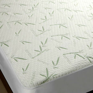 Cooling Bamboo Mattress Protector Deep Fitted Pocket Matress Pad Plush Quiet New