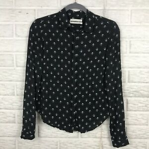 Urban-Outfitters-Women-039-s-Button-Front-Blouse-Small-Black-Long-Sleeve-Motif-Print