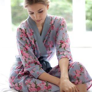 in floreale esaurito corallo o Nuovo abito vintage blu corallo 100 kimono cotone blu wE1UqgIP