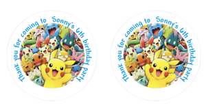 Birthday Goody Bag Stickers Party Thank You 24 Personalised Pikachu