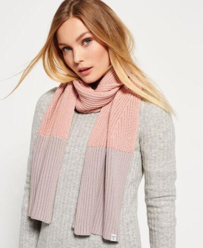 Neue Damen Superdry Colour Block Schal Dusty Pink