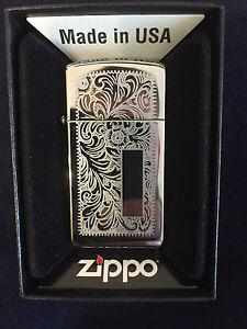 ZIPPO-Lighter-Feuerzeug-Modell-Slim-Venetian-Made-in-USA