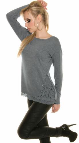 Feinstrick Pulli Shirt mit Spitze Langarm weich Frühling Pullishirt   36 38 40