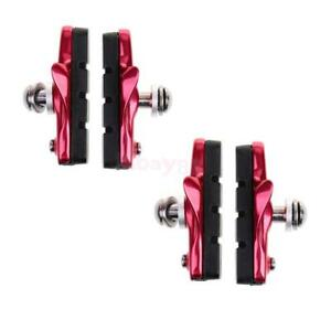 2 Pairs BMX Bike V Brake Blocks Pads Shoes Fixed Gear Bicycle Rubber Holder