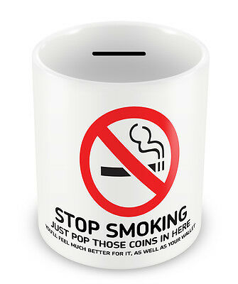 STOP SMOKING Money Box - Trying to quit Savings Penny jar piggy bank habits #58