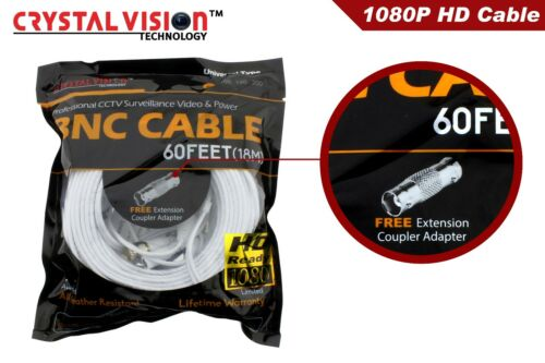 WHITE PREMIUM 60FT HIGH QUALITY BNC CABLES FOR 8 CH SAMSUNG SYSTEMS SDS 5100