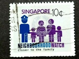 Singapore-1983-Neighborhood-Watch-Safety-Campaign-10c-1v-Used