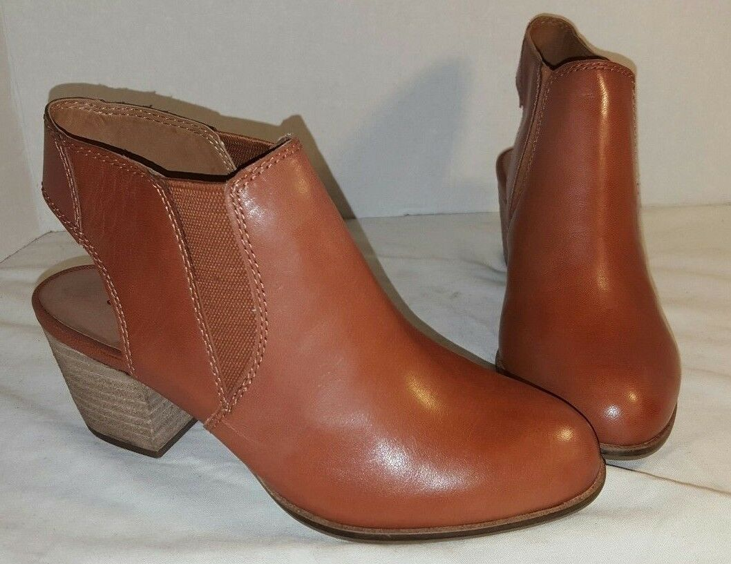 NEW LUCKY BRAND BROWN TASHHA LEATHER ANKLE BOOTIE BOOTS WOMANS US SIZE 5.5 35.5