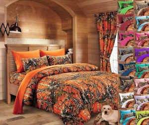 22 pc orange Woods Camo Queen comforter, sheets, pillowcases w 3 curtain sets
