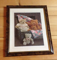 Framed teddy bear picture - 3 teddy bears with a country motif