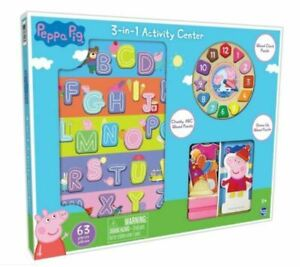 PEPPA-Pig-Orologio-Puzzle-in-legno-e-l-039-attivita-Set-63-PEZZI-3-in-1-PEPPA-PIG-Set