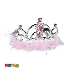 Caricamento dell immagine in corso Corona -Tiara-Principessa-Argento-Pietre-Rosa-Addio-Nubilato- 4b901f42c877