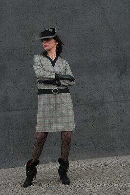 Energico Lavoro Manuale Wollkleid Abito 60er True Vintage Da Donna Moda Wool Dress 60s A Quadri-mostra Il Titolo Originale Ampie Varietà