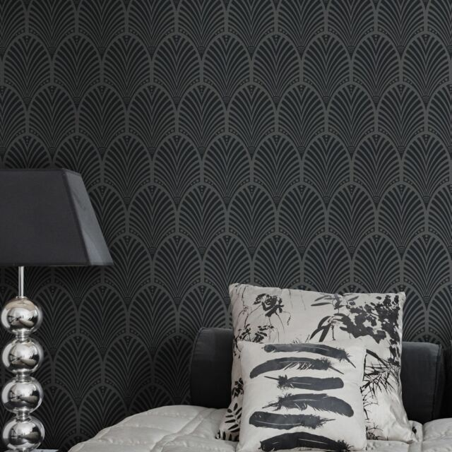 GATSBY ART DECO WALLPAPER CHARCOAL