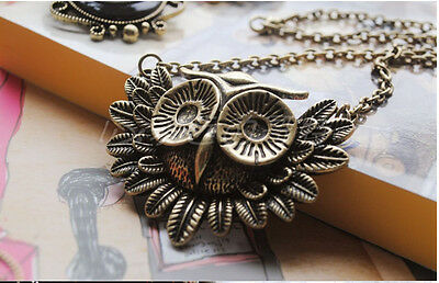UK seller Vintage Retro Owl necklace chain *Free studs for any 2 jewelleries
