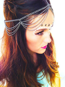 Image is loading Silver-layered-Egyptian-goddess-Hair-Head-Chain-headdress- 37cd7194ed6