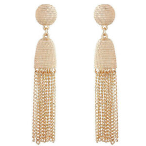 Women-Elegant-Metal-Chain-Long-Tassel-Earrings-Gold-Alloy-Ear-Stud-Jewelry-Gift