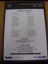 01/02/2014 COLORI teamsheet: Newcastle United V Sunderland. condizione: elencati