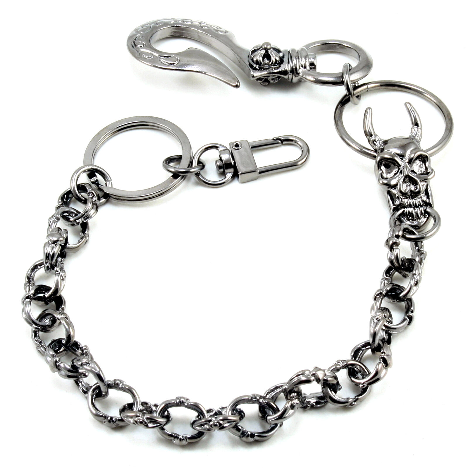 DK Skull Medieval Knight Gothic Key Jean Wallet Chain BLK//SLV CS105 /& ACS110