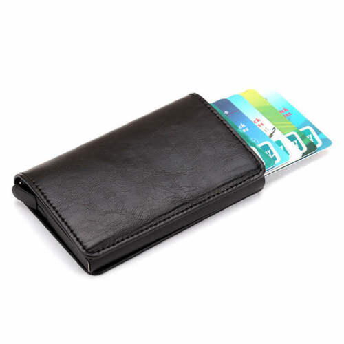Credit Card Holder PU Leather Wallet Antitheft Men Wallets Automatic Pop Up Card