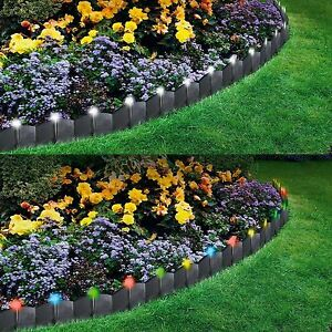 Image Is Loading PLASTIC GARDEN EDGING WITH LED LIGHTS HAMMER IN