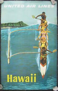 Hawaii Travel Poster United Airlines Advertisement-Original